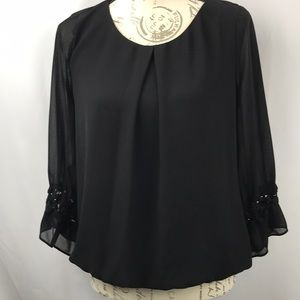 BLK Blouse Sheer Sleeves & Lace Details